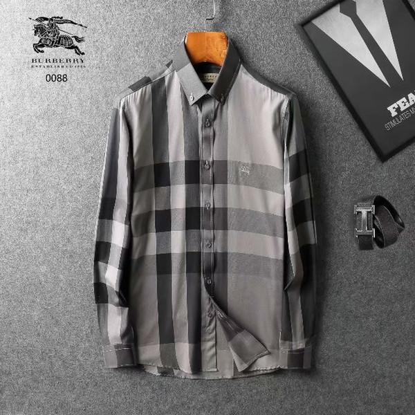 2018-2019 primavera e outono nova marca menswear listrada xadrez lapela moda série manga longa camisa de alta qualidade m-2xl frete grátis