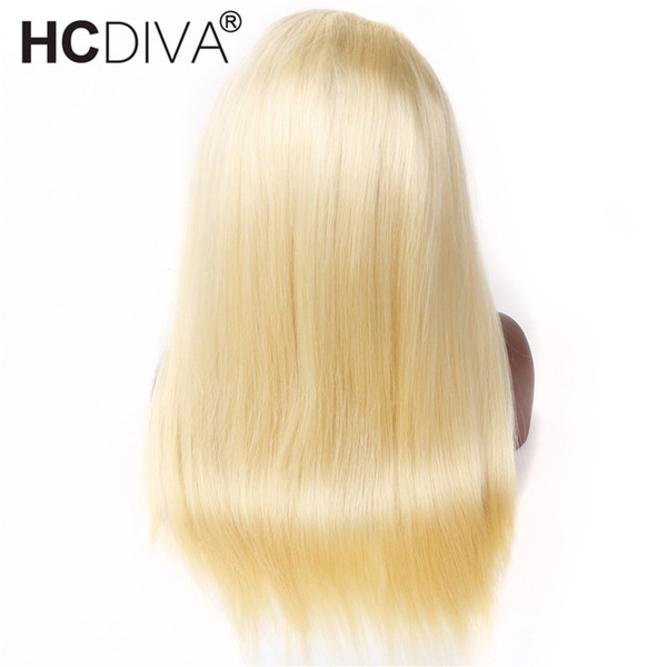 Rew Indian Hair #613 Blonde Full Lace Front Human Hair Wigs Pre Plucked Indian Remy Straight Frontal Hair Wigs 150% Density Natural Hairline