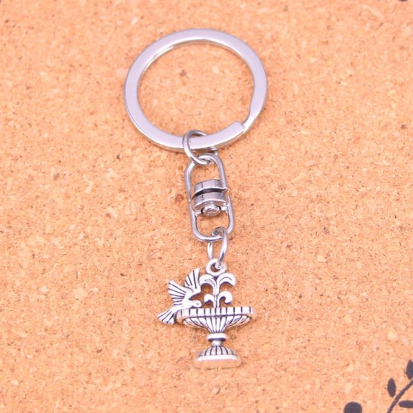 New Design parterre bird drinking Keychain Car Key Chain Key Ring silver pendant For Man Women Gift