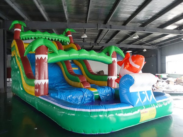 2017 Popular&Hot Sale Inflatable Slide with a pool amusement park giant inflatable slide for children inflatable island