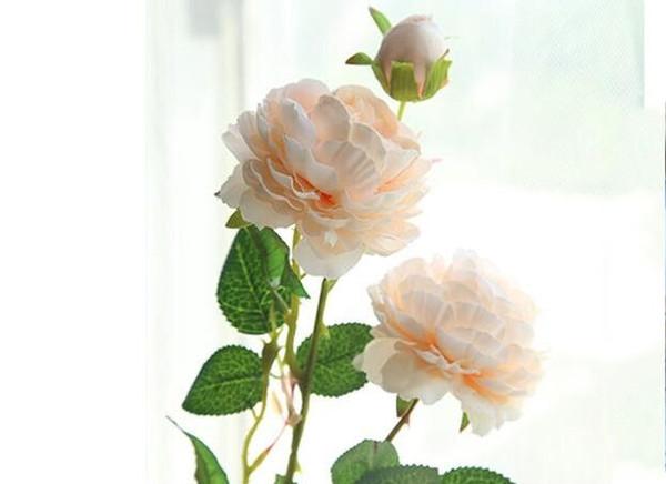 61 cm Flor Artificial Rosa de Seda Mariage Fiesta de Cumpleaños Western Rose Flores de La Boda Ranunculus Asiaticus Rama Decoración Del Hogar