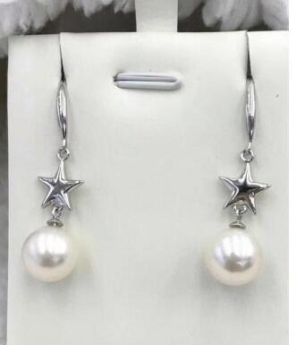 Free Shipping Wholesale price ^^^ New 9-10mm SouthSea Natural pearl earring 925silver