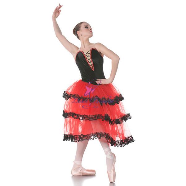 Dança Favorita Vermelho Espanhol Longo Ballet Tutu Preto Veludo Blace Top Corpete Ballet Costumes Dança Tutu, trajes de Bailarina