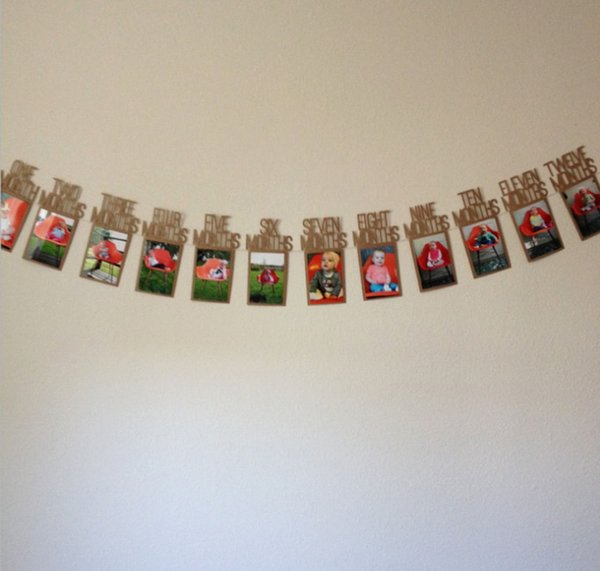DIY Monthly Paper 1st One Year Photo Booth Birthday Banner Baby photos show Photo Frame Photos Album Party Decoration
