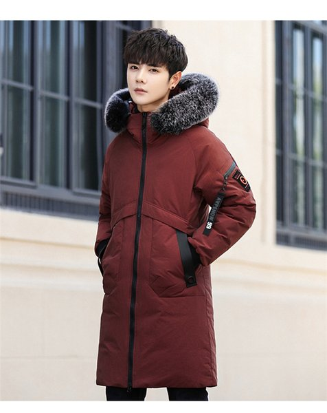 Hot Long Coat Big Genuine Fur Hood Duck Down Jackets Men Warm High Quality Down Coats Mens Casual Winter Outerwear Down Parkas