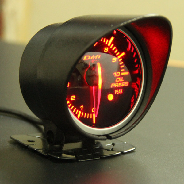 best selling Free Shipping 60mm 2.5 Inch DEFI BF Style Racing Gauge Car Oil Press Gauge with Red & White Light Oil Pressure Sensor
