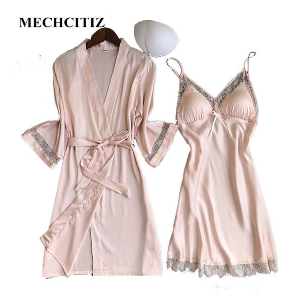 MECHCITIZ 2018 Hot Selling Women's Robe and Gown Set 2 Pieces Sleepwear Suit With Bathrobe Night Dress Summer Home Clothes