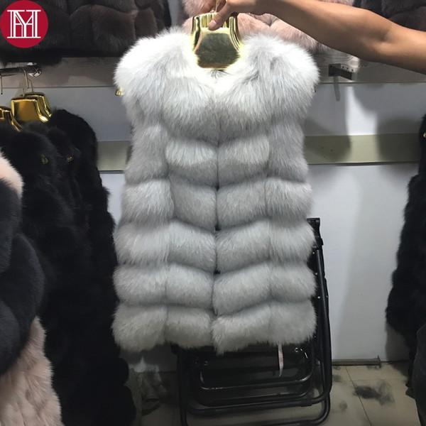 2017 frauen natürliche echte fuchspelz weste gute qualität 100% echte echte fuchspelz gilets winter dicke warme fuchspelz langen ärmellosen mantel Y18103101