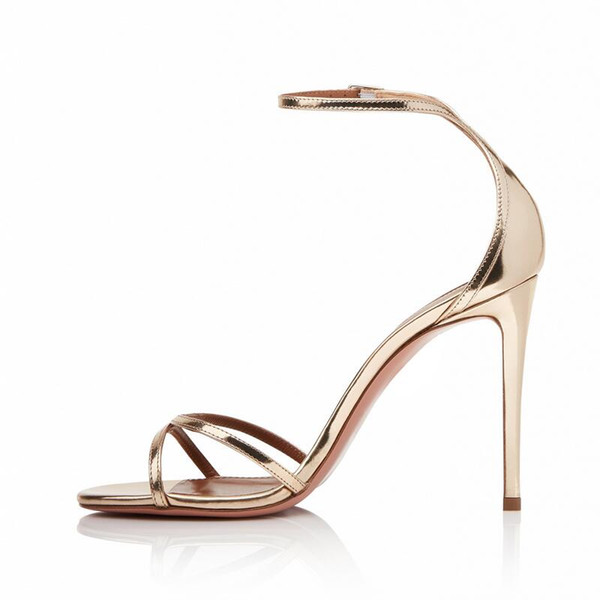 Gold And Silver Thin High Heel Fashion Women Shoes Open Toe Buckle Strap Sexy Simple Summer Women Party Shoes Normal Size