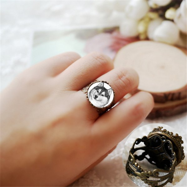 Retro Siberian Husky Dog Glass Dome Crown Rings Unisex Jewelry Gifts