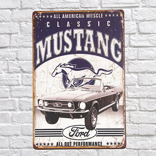 Vintage Style All American muscle classic mustang Decorative Metal Signs 20x30cm iron Painting Bar Pub wall art metal plates Y18102409