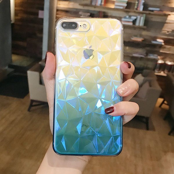 YunRT Gradient Color Case For iPhone 7 Plus 3D Diamond Pattern Clear Phone Cases For iPhone X 8 7 6 6s Plus Soft TPU Back Cover