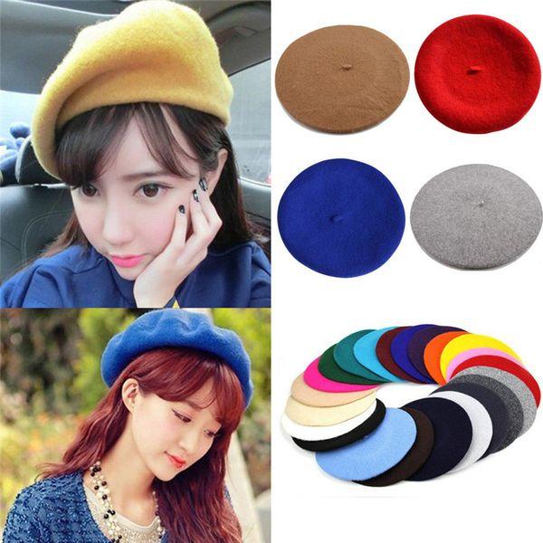 2018 Herbst Winter New Vintage Berets Frauen Mädchen Süße Jugend Wolle Warme Plain Beret Hut Kappe Damen Vogue Hüte Caps 11 Farben