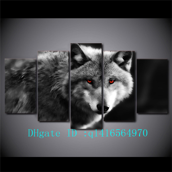Red Eye Wolf,5 Pieces Canvas Prints Wall Art Oil Painting Home Decor /(Unframed/Framed)