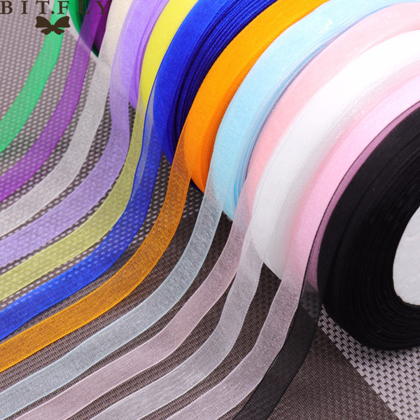 material (50 yards/roll) 10mm organza ribbons Bow Wedding party Christmas home Decoration supplies Wrapping Christmas New Year DIY Materi