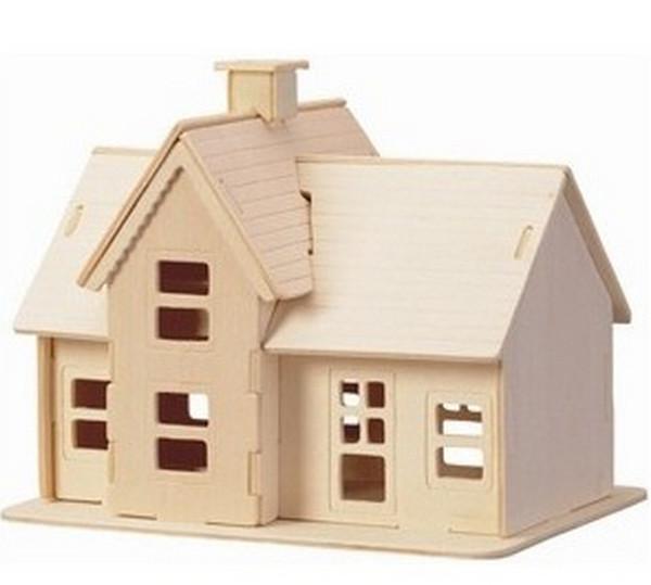 top popular Building Toys Wooden Build House Miniature 3D Puzzle DIY Country Station Design Scale Models 19.5*14.5*16CM Factory Wholesale 2 Pcs Or More 2021