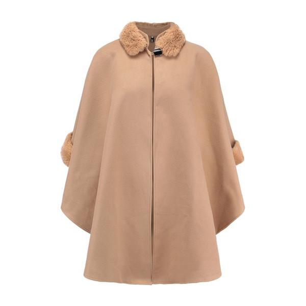 fox fur collar double-sided women's woolen coat temperament cloak shawl woolen coat female
