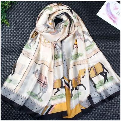 2018 High Quality Silk Scarf Women Long Floral Print Scarves Decorative Head Scarf Multicolor Stripe Print Kerchief Neck Wrap Lady's Muffler