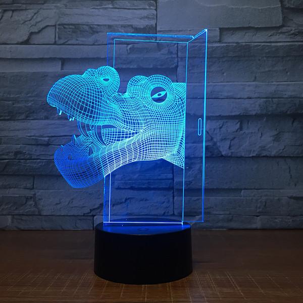 Dinosaur Head 3D Illusion light Lamp 3D Optical Lamp AA Battery USB Powered 7 RGB Light DC 5V Wholesale Free Shipping