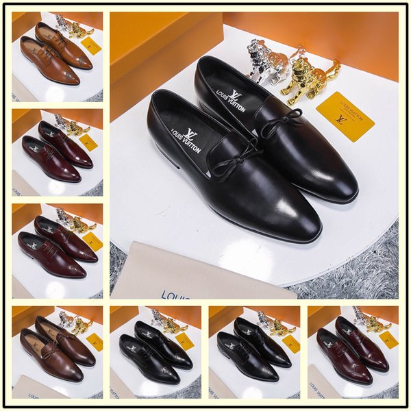 2018 Mens Dress Shoes Lace Up Man Fashion Designer Split Leather Derby Sneakers Black Man Luxury Wedding Flats Office Formal Shoes