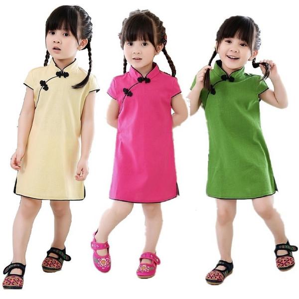 Vestidos Da Menina do bebê de Manga Curta Crianças Qipao Chinês Tradicional Presente de Ano Novo Roupas da Menina Cheongsam Sólida Jovem Vestido Da Menina Saias