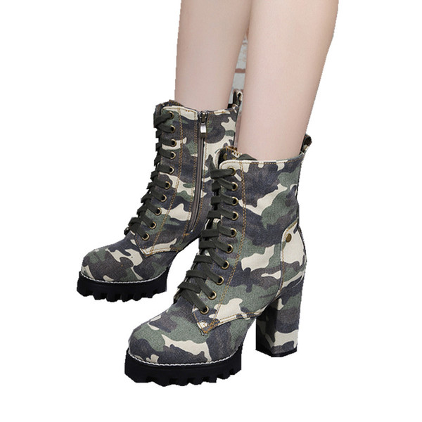 Army Green Camouflage Women Platform Ankle Boots Lace Up High Heels Rubber Botas Feminino Ladies Shoes Cowgirl Bottine Femme