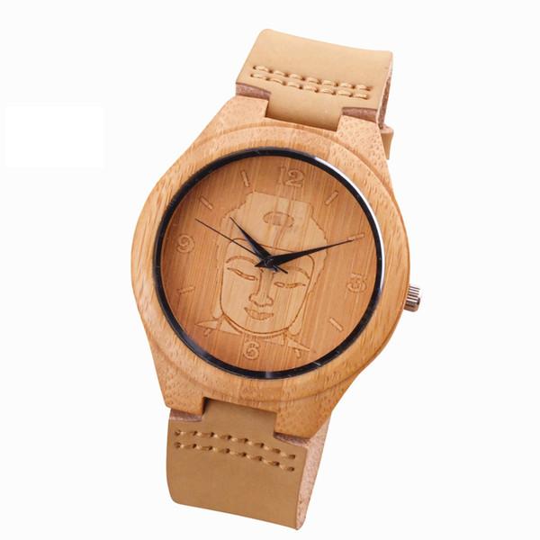 2018 Bamboo Wood Watch Minimalist Buddha Genuine Leather Band Strap Nature Wood Bangle Wristwatch Unisex Reloj Hombre Clock for Unisex
