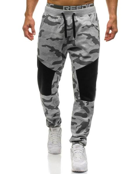 Calças dos homens Comprimento Completo Camuflagem Impressão 2018 Outono NOVO Homens de Ginástica Roupas de Fitness Workout Basculadores Calças Homem Sweatpant Desportivo