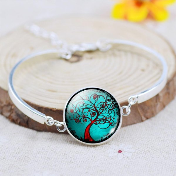 Silver Plated Life Tree Glass Cabochon Art Picture Charm Bracelets Bangles Summer Style Bracelets for Women Femme