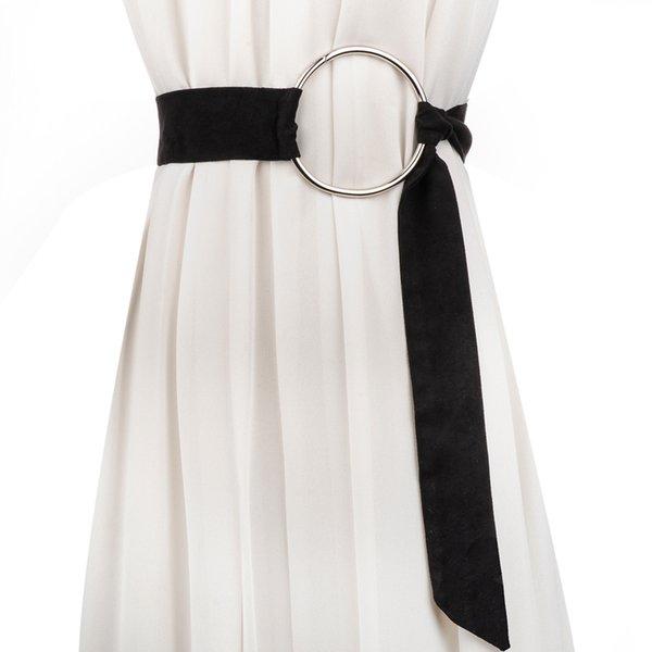 Cinturón para mujer Anillo de moda Knot lon Tejido de gamuza de alta calidad tejido mujer