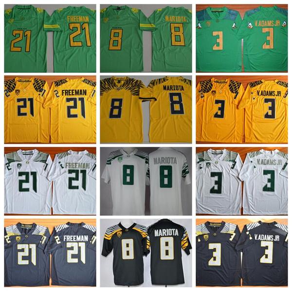 73e7c999a479 NCAA Oregon Ducks College Jerseys Football Men 8 Marcus Mariota 3 Vernon  Adams Jr 21 Royce Freeman PAC 12 Green Yellow Black White