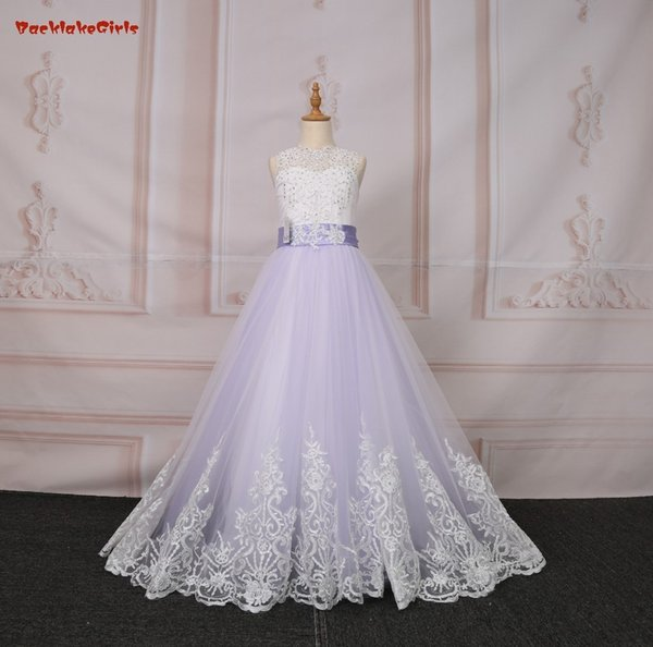 Princess Flower Girl Dresses 2018 Elegant Purple Butterfly Long Lace Pearls A-line For Kids First Communion Dress For Girls