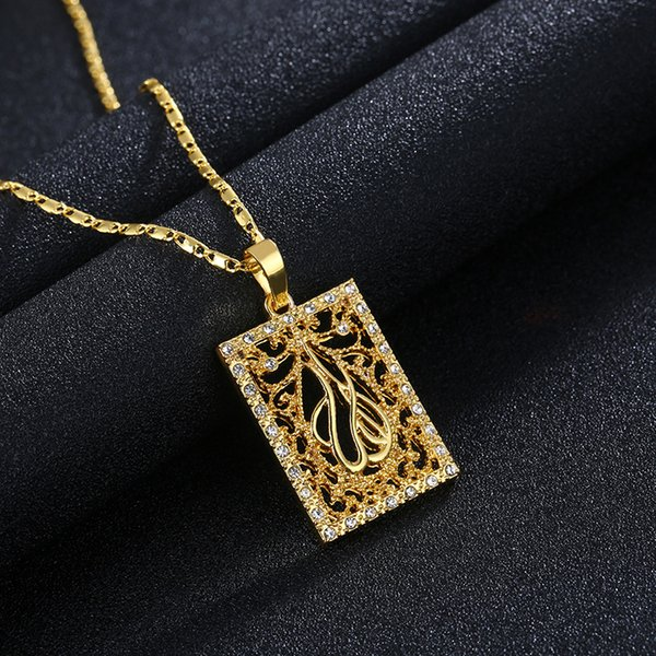 Hot sale vogue new product exquisite gold plated square totem model diamond male / female gold silver fashion necklace sweater chain A258#