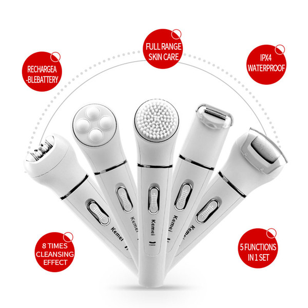 Professional 5-in-1 Facial and Body Beauty Tools Kit Women Epilator Hair Removal Massager and Lady Shaver Callus Remover