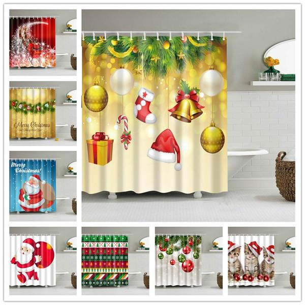 best selling Snowman Waterproof Shower Curtain 180*180cm Polyester Sleepy Snowman Pattern Bathroom Shower Curtains Christmas Bath Curtain 94designs 60pcs