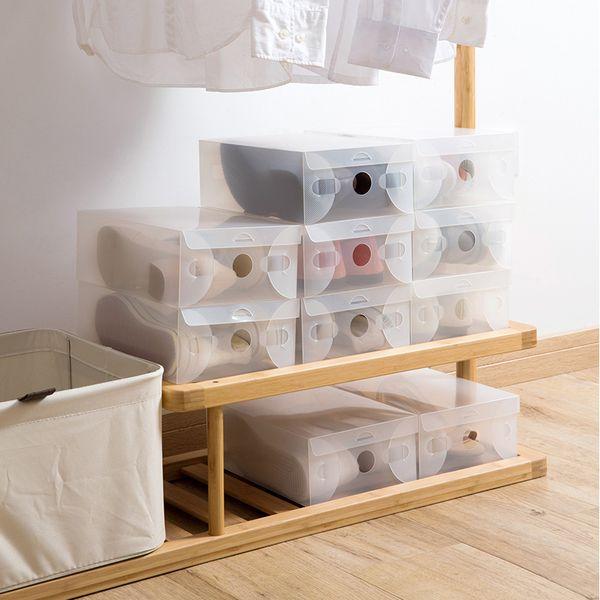 Plastic Transparent Shoe Box Thickened Shoes Storage Box Easy Folding Dustproof Shoes Cover Moisture-Proof Shoe Box