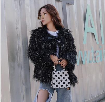 Short Section Fake Wool Jackets For Women Winter Autumn Sexy Female Black/Khaki Imitation Fur Outwears Clothes S/Xl Coats K951