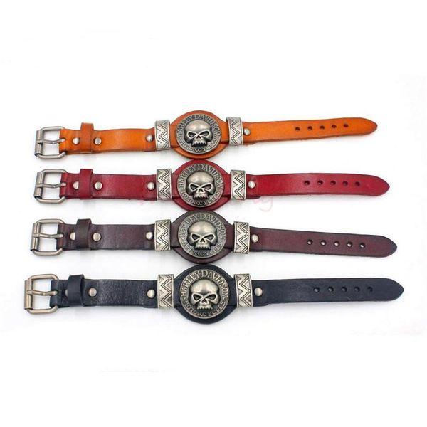 Leather Bracelets Charms Skull Watch Band Design Adjustable Bangle Punk Rock Hiphop Decorations Reiki Amulet Jewelry KKA1888