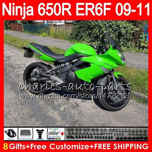 Factory green Body For KAWASAKI NINJA 650R ER 6F ER-6F 2009 2010 2011 Kit 114HM.32 Ninja650R ER6 F 650 R ER6F 09 10 11 Moto Bodywork Fairing