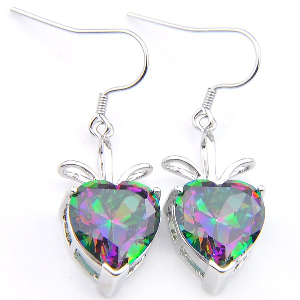 New products Free Shipping- 5pairs Valentine's Day Lucky Shine Heart Rainbow Mystic Topaz Gems 925 Sterling Silver Plated Drop Earrings
