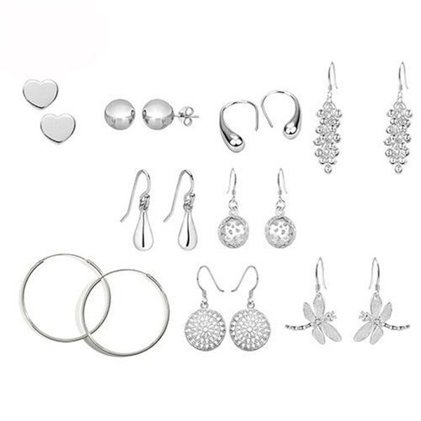 best selling mix 9 style Fashion Earring Jewelry Women's Silver Earrings Jewelry 925 Silver Pretty Tears Earrings Jewelry