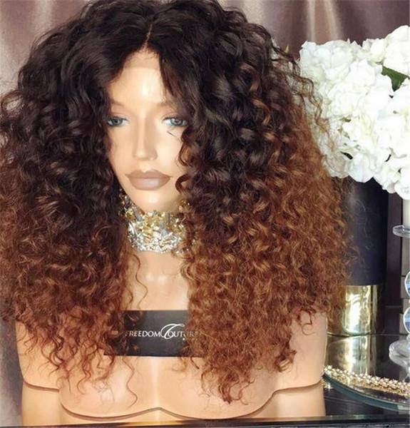 Chegada nova Kinky Encaracolado 150% densidade dois tons de cor peruca de cabelo humano # 1bT30 ombre peruca dianteira do laço virgem brasileira cheia do laço peruca