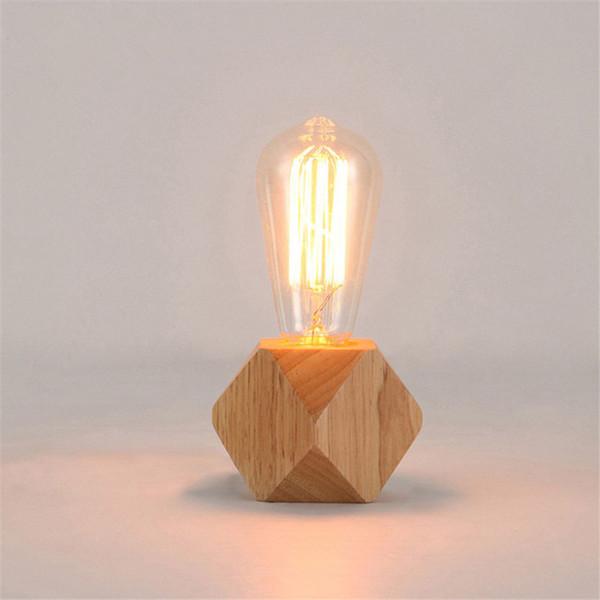 2019 Modern Table Lamp E27 Wooden Desk Lamp Diamond Bedside Lamp For Home Bedroom Living Room Decor Eu Us Plug Wooden Base Tafellamp From Love82355