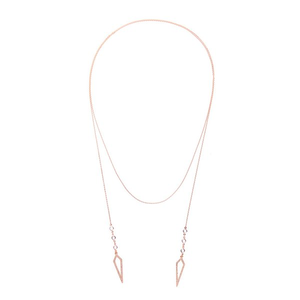 Slanw Collane nuova catena maglia lunga catena regolabile strass geometrica lunghe collane del pendente per le donne goccia di modo di trasporto dei monili