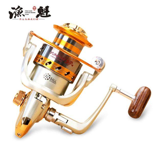 YUKUI EF1000-7000 12BB 5.5: 1 Metal Spinning Fishing Reel Fly Wheel Para Fresh / Salt Water Sea Fishing Spinning Reel Carp Fishing