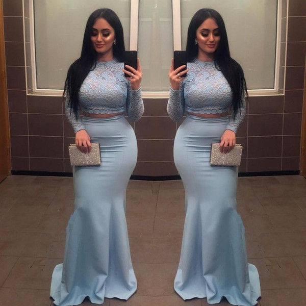 Dusty Blue Two Pieces Prom Dresses Lace Top And Long Sleeves Satin Mermaid Evening Gowns Plus Size African Formal Party Dress Cheap
