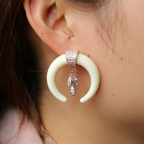 2018 Exaggerate double ox horn dangle marquise cubic zirconia earring elegant fashion crescent moon horn cz earrings for women girls