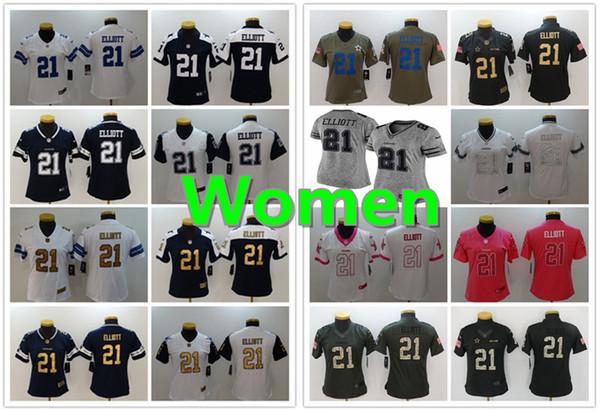 super popular 31e0e 6d2eb 2019 Women 21 Ezekiel Elliott Dallas Jersey Cowboys Football Jersey 100%  Stitched Embroidery Ezekiel Elliott Color Rush Football Women Jersey From  ...