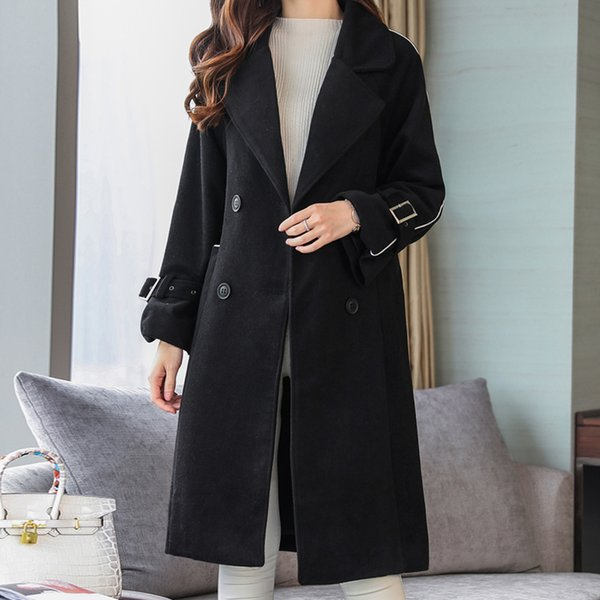 High quality Elegant Warm Winter Wool Blends Female Black Pockets Belt Sashes Long Coat Women Casual Autumn Overcoat Outerwear
