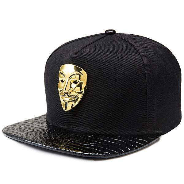 Moda Hombre Mujer Amantes Clásicos Negro Hip-hop Snapback Sombreros para Vendetta V-Type Mask Hombre Gorras planas